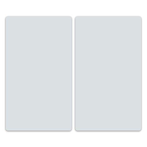 decorwelt | Herdabdeckplatten 2x30x52 cm Ceranfeldabdeckung 2-Teilig Universal Elektroherd Induktion für Kochplatten Herdschutz Deko Schneidebrett Sicherheitsglas Spritzschutz Glas Grau
