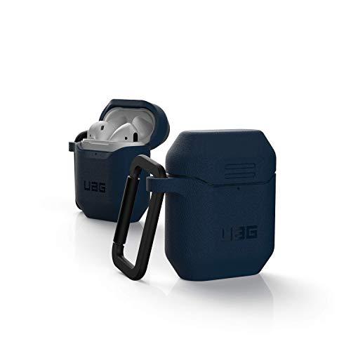 Urban Armor Gear Hülle Apple Airpods 2 (2019) / Apple Airpods 1 (2016) (Texturiertes einteiliges Silikon Case, Wireless Charging kompatibel, Karabinerhaken, Lightning-Anschluss Abdeckung) blau