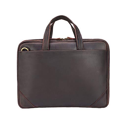 TIDING Borsa Da Lavoro Sottile Da Uomo In Stile Semplice, Borsa Da Viaggio Da 15,6 Pollici, Borsa Per Laptop(Color:Marrone,Size:41 * 5 * 30cm)