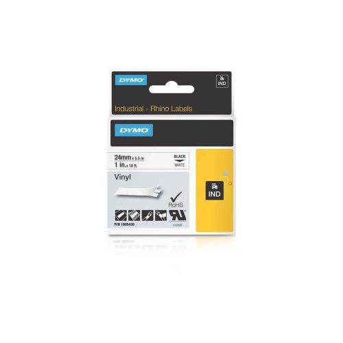 Dymo Black on White Color Coded Label - 1 Width x 18.04 ft Length - Vinyl - Thermal Transfer - White