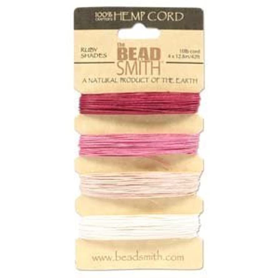 Hemp Twine Bead Cord .55mm - Ruby Colors App 42 Feet