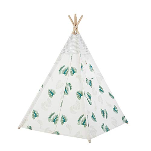 CSQ Indoor Decorated Tent, Children's Indian Teepee with Plant Patterns, Older Children's Reading Corner Outdoor Play Tent Children's play house (Size : 120 * 120 * 160CM)