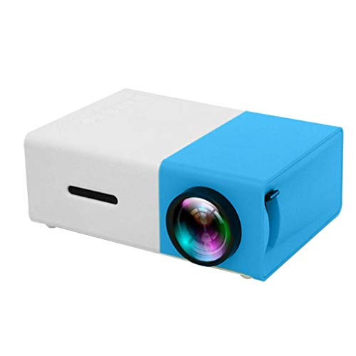 Portable Mini Video Projector, LED Home Projector- Full HD 1080P Display Supported, PC Laptop USB/SD/AV/HDMI Input for Video/Movie/Game/Home Theater Best Gift for Children Valentine's (Blue)