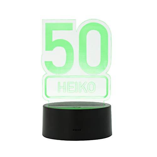 Herz & Heim® Personalisierte LED Lampe mit Namen zum runden Geburtstag 50. Geburtstag