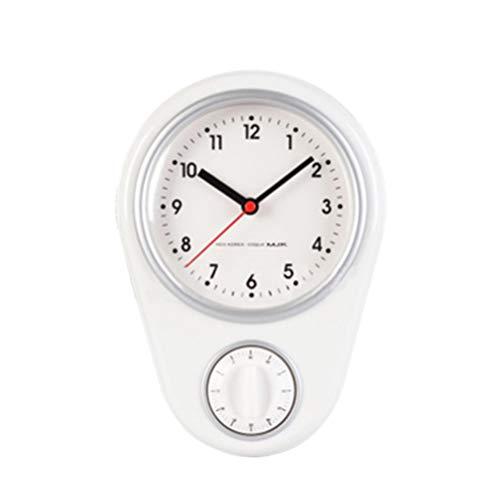 WINOMO Horloge Murale Cuisine Minuterie Minuterie de Cuisson Horloge avec Alarme Forte Multi-Fonctions Maison Table Décor pour Réfrigérateur Cuisson Travail Cuisson Blanc Pas de Batterie