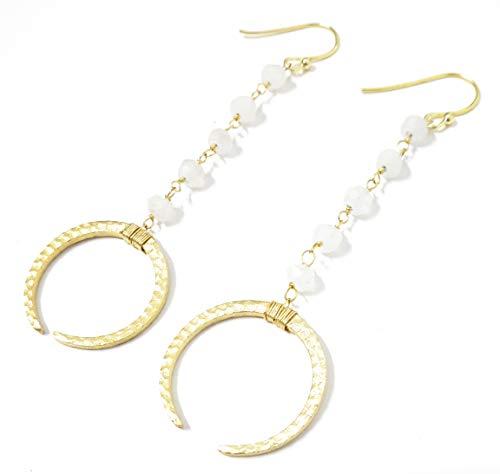 Pendientes largos mujer joyería delicada y preciosa luna con cristales semipreciosos blancos, 24K baño oro hecho a mano en España