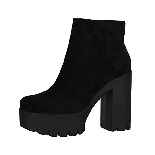 Elara Damen Stiefeletten Chelsea Boots Chunkyrayan HQ115 Black-37