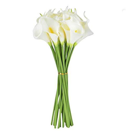 Surreh Ramos de flores artificiales de lirio de agua, sensación natural, 10 unidades, para decoración de boda, hogar, fiesta, oficina, pu, Blanco, 34 cm