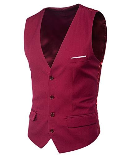 Chaleco Traje Hombre Sin Mangas Retro Vestir Banquete Ceremonia Casual V-Neck Blazers Vino Rojo M