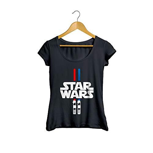 Camiseta Baby Look Sabre de Luz Feminino Preto Tamanho:G