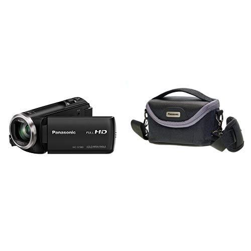 Panasonic HC-V180EG-K Full HD Camcorder (1/5, 8 Zoll Sensor, Full HD, 50x optischer Zoom, 28 mm Weitwinkel, opt. 5-Achsen Bildstabilisator Hybrid OIS+) schwarz & VW-PH80XE-K Robuste Softtasche
