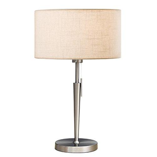Lampe de Table en métal à Tirette, Abat-Jour en Tissu de Lin, Base Ronde, Hauteur 22,86\