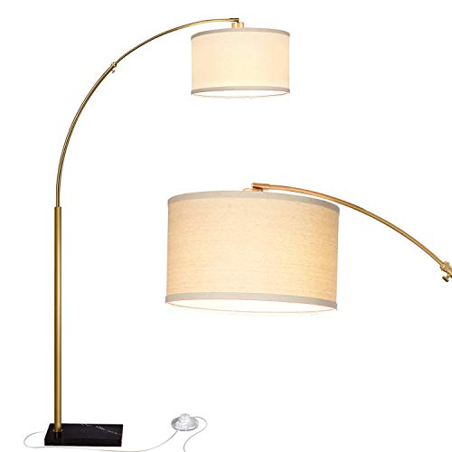 Brightech Logan - Contemporary Arc Floor Lamp w. Marble Base - Over The Couch Hanging Light On Arching Pole - Alexa & Google Home Compatible Modern Living Room Lighting - Brass/Gold
