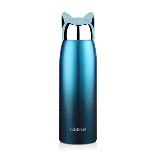 Cute Travel Mug,Stainless Steel Coffee Tumbler,Leak-proof Insulation Water Bottle for Kids&Adult,Thermal Cup for Liquid (Cyan 300ML)