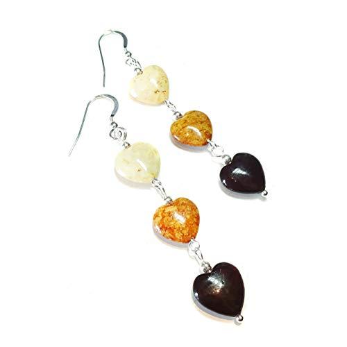 Boucles d'oreille Argent Massif et cœur en Turquoise – Rouge foncé, marron et crème