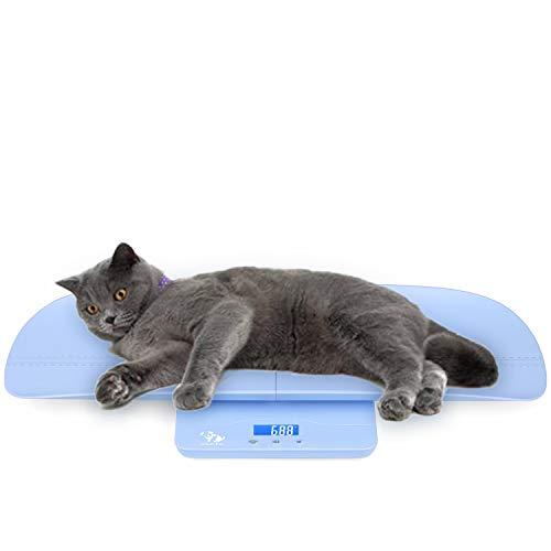 OneTwoThree Digitale Haustierwaage für Hunde und Katzen, 3 Maßeinheiten (Kilogramm/Unzen/Pfund), ca. 100 kg maximale Tragkraft, mit Präzision von ca. 10 g, Länge der Ablage: 69,9 cm, Blau