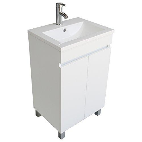 BATHJOY Modern White Single Wood Bathroom Vanity Cabinet with Undermount Vessel Sink Combo Faucet Drain