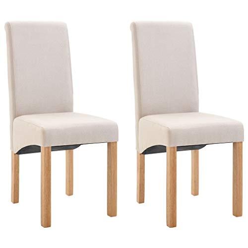 vidaXL 2X Esszimmerstuhl Küchenstuhl Polsterstuhl Wohnzimmerstuhl Stuhl Set Essstuhl Stühle Esszimmerstühle Stuhlgruppe Hochlehner Creme Stoff