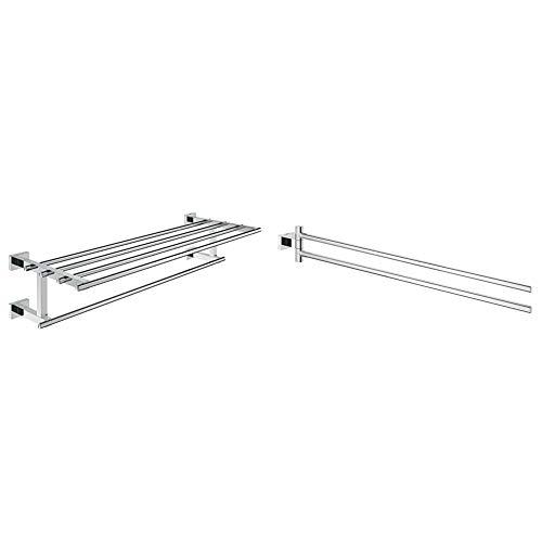 Grohe Essentials CubeToallero múltiple , 600mm, fijación empotrada (Ref. 40512001) + Essentials CubeToallero, Color Cromo (Ref.40624001)