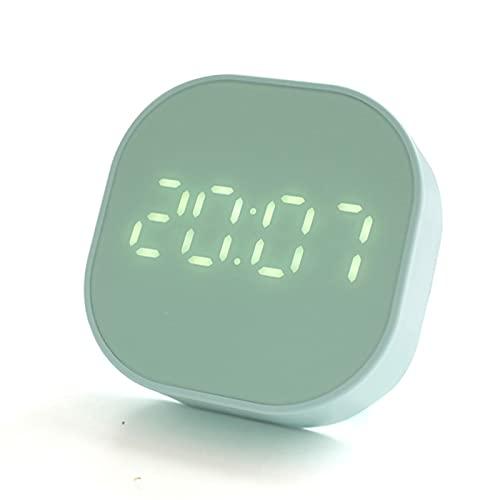 WEIHE Reloj Despertador, Reloj Despertador con Cuenta Regresiva, Mini Pantalla De Temperatura Inteligente, Carga USB, Regalo para El Dormitorio, Reloj Despertador Pequeño,Verde