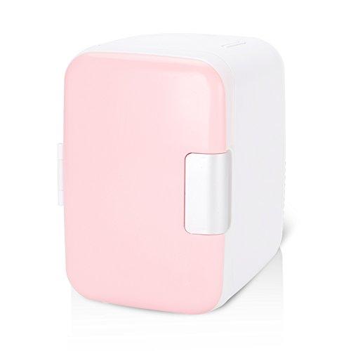 Mini Nevera, 4 litros/6 Latas AC/DC Habitación Coche Oficina Pequeña Nevera Más Frío y Más Cálido Portátil Frigorífico Compacto de Sobremesa para Medicamentos de Alimentos de Maquillaje(Rosa)