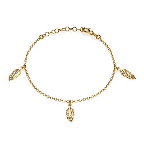 Aka Gioielli - Bracciale Piume in Argento 925 Placcato Oro con 3 Ciondoli a forma di Piuma per Donna, Raffinata e Delicata