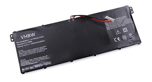 vhbw Li-Polymer Batterie 3000mAh (15.2V) pour Ordinateur Portable, Notebook Acer Chromebook 13 CB5-311, 15, 15 C910, 15 CB3-531 comme AC14B8K.