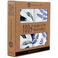 Organic Muslin Swaddle Blankets by Margaux & May - Blue Fern & Green Feather - 47 x 47 inch Ultra Soft Muslin Swaddle Blankets