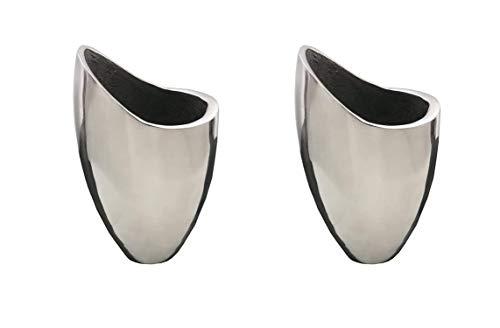 Natuzzi - Juego de 2 macetas de acero con diseño italiano