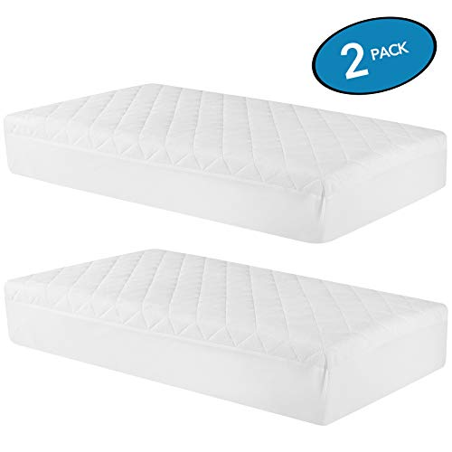Oubonun Waterproof Crib Mattress Cover (Set of 2) - 52x28 White Crib Mattress Protector - Soft Fitted Baby Crib Mattress Pad with 9-inch Pocket - Fiber Toddler Mattress Pad