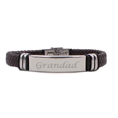 Kigu Grandad Personalised Brown Leather Braided Bracelet, Bag