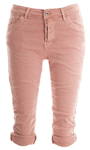 Basic.de Damen 3/4 Jeans-Hose Capri mit verdeckter Knopfleiste Melly & CO 8190 Rosa XL