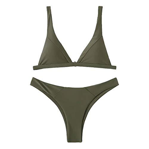 IZHH Bikini Gepolsterte Push-up-Badeanzüge Tummy Control-Badeanzüge Badebekleidung Einfarbiger grüner, doppelseitiger Badeanzug(Mehrfarbig,Medium)