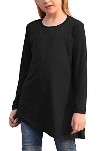 GORLYA Girl's Long Sleeve Hi-Lo Hem Button Side Casual Loose Fit T-Shirt Tunic Tops for 4-14T Kids (GOR1056, 9-10Y, Black)
