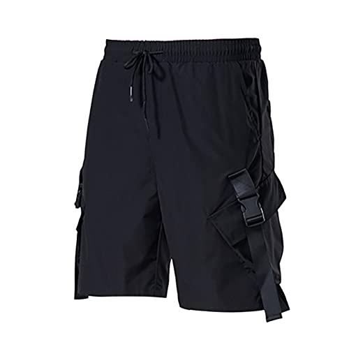 Pantalones cortos de carga para hombre, pantalones cortos tácticos, transpirables, informales, de verano, para entrenamiento, pantalones deportivos sueltos, Negro, 3XL