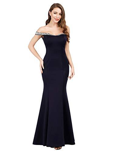 Ever-Pretty Sin Tirantes Sirena Vestido de Noche Lentejuela para Mujer 07941