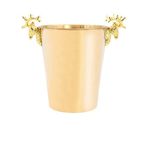 Accesorios De Barra Cubo De Hielo De Acero Inoxidable Cubo De Hielo Pequeño Cubo De Hielo Grande Con Pinzas Para Hielo Cubo De Hielo Barra Cuadrada Artículos Para Barra Casera 2L / (Size:5L,Color:Oro)