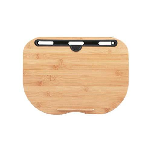 GEVJ draagbare bamboe laptoptafel, kussen schoot bureau Boekenplank Lade tabletstandaard Handige leren bureauhouder voor bednotitieblok