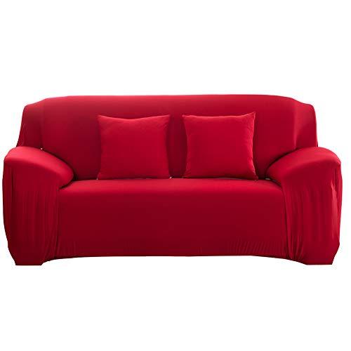 Funda de sofá elástica Antideslizante Funda de sofá elástica de Tejido elástico extraíble Cubierta de sofá/Dos/Tres/Cuatro plazas Rojo(2 Seater :145-185cm)