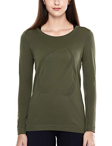 CRZ YOGA Damen Sport Shirt Langärmliges Yoga Shirt Nahtlos Atmungsaktiv,Laufshirt Laufen Fitness Dunkle Olive-R759 34