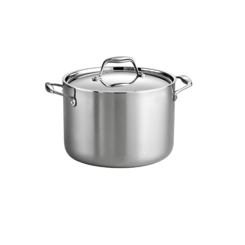Tramontina 80116/041DS Gourmet Stainless Steel Induction-Ready Tri-Ply Clad Covered Stock Pot, 8 Quart, Made in Brazil