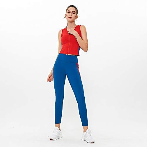 SUNXK 2020 Nueva impresión de Ropa Femenina de la Yoga de Trajes de Europa y América del Chaleco sin Mangas de la Cintura Pantalones Ajustados (Color : Red+Royal Blue, Size : L)