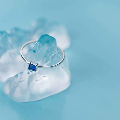 WOZUIMEI S925 Anillos de Plata Estilo Japonés Y Coreano para Mujer Simple Pequeña Tendencia de Moda Fresca Personalidad Anillo de Diamantes Cuadrados JoyeríaEstilo de anillos de diamantes azules, 16