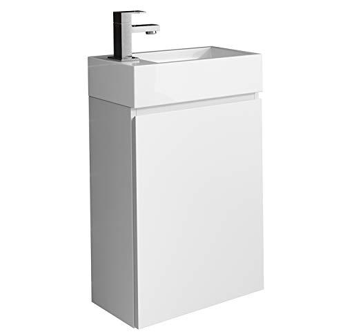 WC Badmöbel Angela 40x22 cm Mattweiß - Schrank Waschbecken Badezimmer Toilette