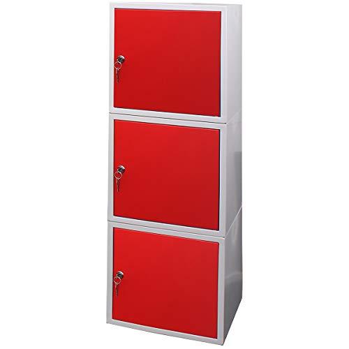 newpo Mega Deal | 3x Schließfachwürfel | HxBxT 35 x 35 x 35 cm | Rot - Garderobe Schließfach Schließfachschrank Schließwürfel