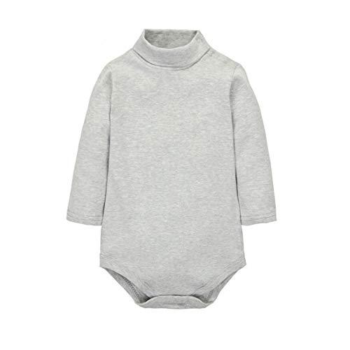 CuteOn Baby Jongens Meisjes Effen Kleur Basic Coltrui Katoen Bodysuit Jumpsuit - Verschillende Kleuren Pasgeboren tot 2 Jaar 24 Months Grijs
