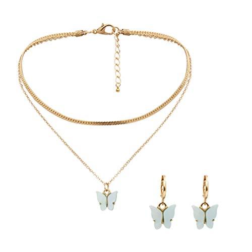 Happyyami Conjunto de Aretes de Collar de Mariposa de Resina de Doble Capa con Dije de Mariposa para El Cuello Pendientes Colgantes Joyería de Boda para Mujeres Y Niñas