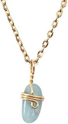 18K Gold Plated Genuine Birthstone Aquamarine Charm Pendant Necklace For Women Birthstone Gemstone product image