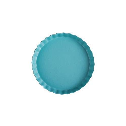 GaoF Plato Redondo de Colores para Horno a Mesa Ideal para lasaña Tartas guisos Tapas obsequios 24,5 x 24,5 x 3,5 cm (Color: Rosa)