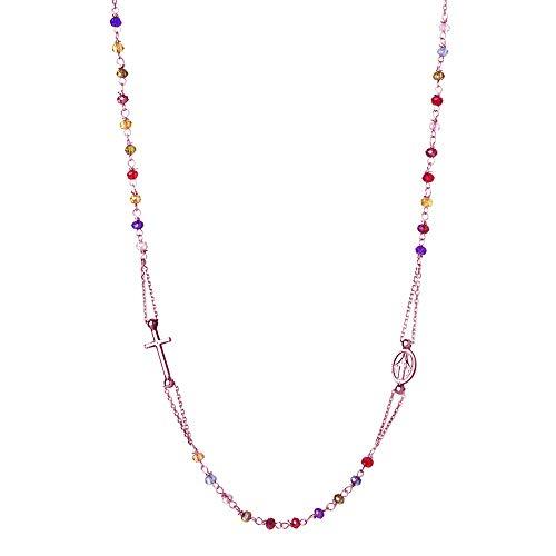 Sinfonie - Gargantilla modelo Rosario - Gargantilla de plata 925 y cuentas de color negro Longitud: 47 cm. Rainbow/Rosa